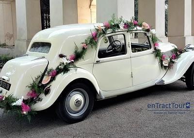Décoration voiture mariage parebrise