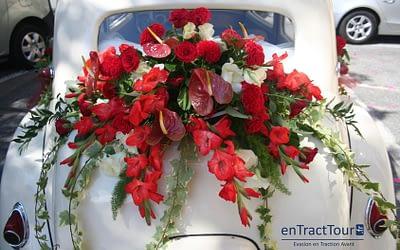 Décorer la malle arrière de sa voiture de mariage